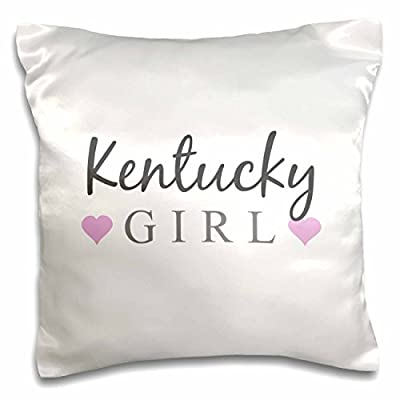 InspirationzStore Typography - Kentucky Girl - home state pride - USA - United States of America - text and cute girly pink hearts - Pillow Case