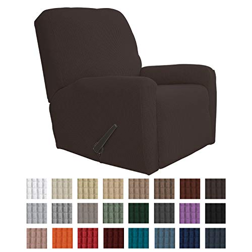 Easy-Going Recliner Stretch Sofa Slipcover Sofa Cover 4-Pieces Furniture Protector Couch Soft with Elastic Bottom Kids, Spandex Jacquard Fabric Small Checks(Recliner,Chocolate)