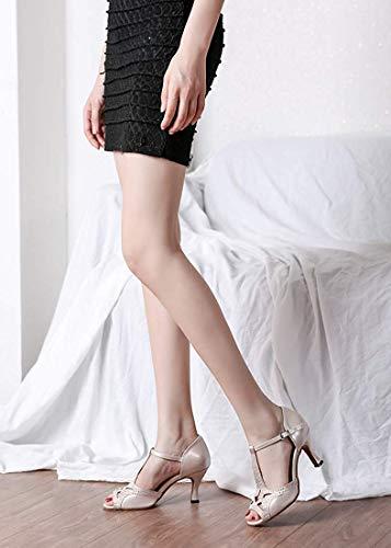 Donna Donna Donna UK comode comode comode Dimensione Nudo Colore Sandali Cinturino Nudo Medio da T con a Tacco 7 Scarpe Sandali con ZHRUI Sposa vqU5w4w