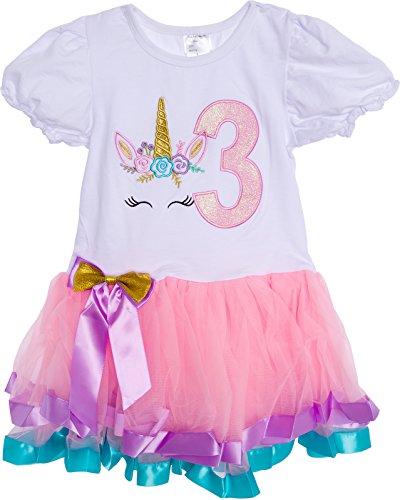 - Silver Lilly Baby Girls Birthday Outfit Unicorn Rainbow Ribbon Tutu Dress for Toddlers (Light Pink Multi, Large)