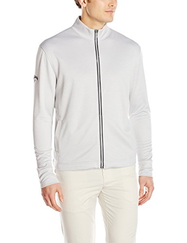 Callaway Men's Golf Full Zip Long Sleeve Waffle Knit Fleece Jacket, High Rise Heather, Medium