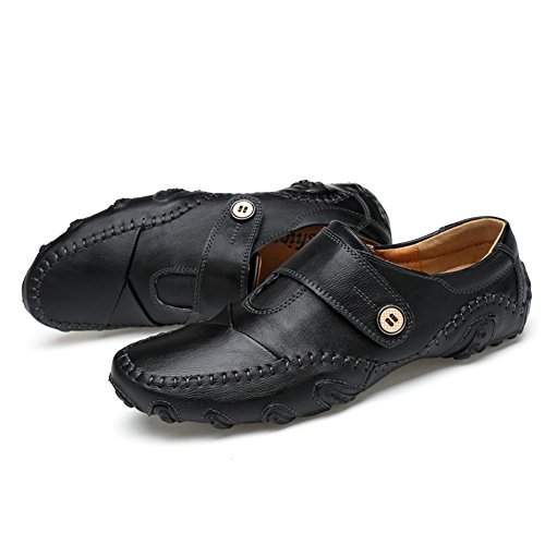 Leather Shoes 39 Casual Tour Loafers Go Mens Black Driving 17qWU