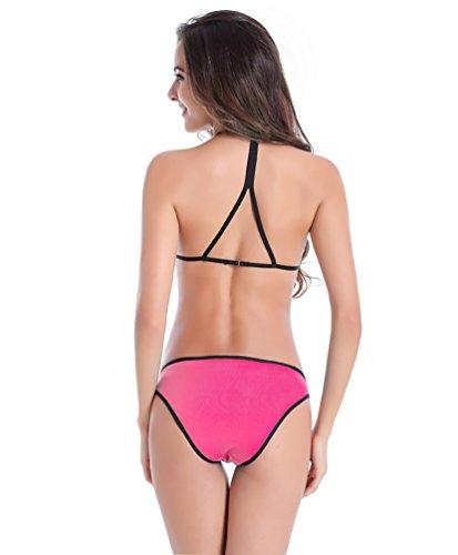 Baymate Acolchado Del Traje De Baño Dos Piezas Bikini Sets Atractivo Bañador Swimsuit Para Mujeres Durazno