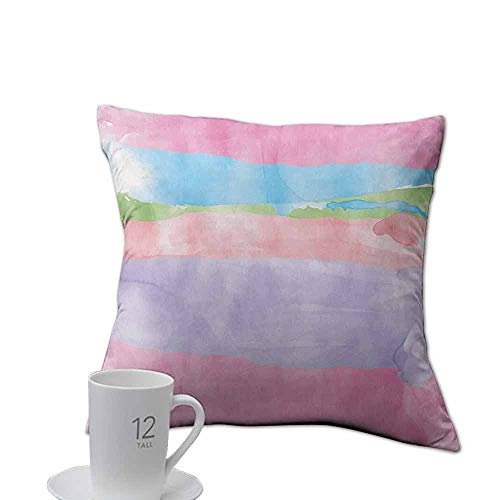Denruny Plush Pillow case Abstract,Paintbrush Watercolor Large Pastel Horizontal Stripes in Various Tones Boho Print,Multicolor.jpg 16