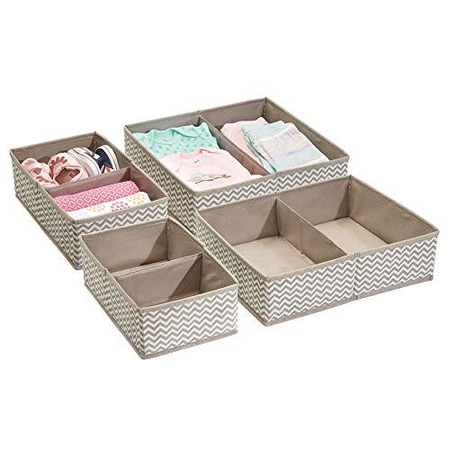 mDesign Soft Fabric Dresser Drawer and Closet Storage Organizer Set for Child/Kids Room, Nursery, Playroom, Bedroom - Rectangular Organizer Bins, Chevron Zig-Zag Print - Set of 4 - Taupe/Natural