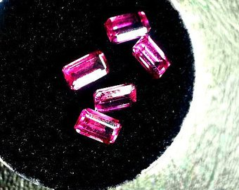 5, 5x3mm Baguette Cut Rhodolite Garnet Facets, Gemstone Parcel. Garnet Crystals for Collection, Wire Wrapping, Healing, Jewelry ()