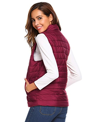 Gilets Jacket Wine Sleeveless Aimage Hooded Winter Button Warm Down Tops Vest Womens Red Body Warmer aRxZ4gwq