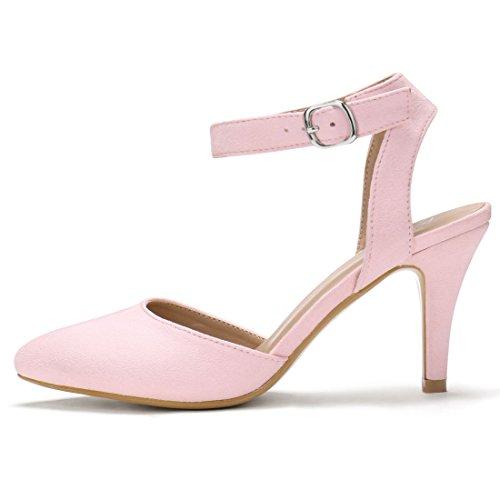 Mujer El Dedo Para Zapatos Con Pie Allegra K Tiras Rosa Tacón Puntiagudo De Aguja Cierre Del SOq8O6