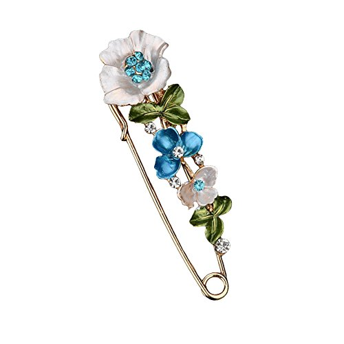 Butterfly Dress Brooch (Meiyuan Elegant Butterfly Flower Rhinestone Safety Pin Brooch for Scarf, Tie, Hat, Dress, Coat Ornament)