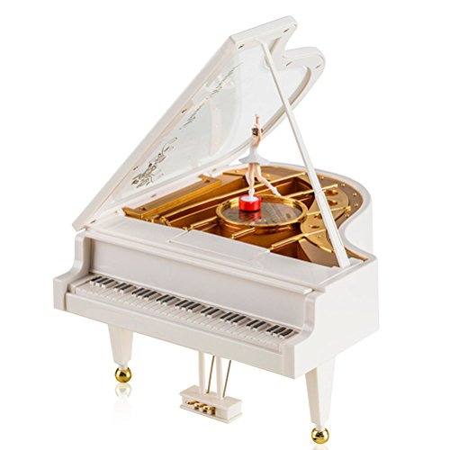 Firelong Piano Music Box Mechanical Classical Musical Box Castle in the Sky Ballerina Ballet Girl Dancing on White Piano Wind-up Clockwork Toy