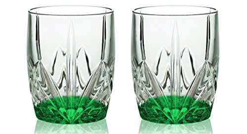 Waterford HapWaterford Brookside 12-Ounce Set of Two Double Old Fashion Glass - Bottom Color Emerald Green - Additional Vibrant Colors Available by TableTop King - Emerald Marquis