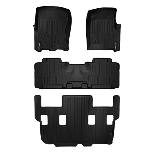 SMARTLINER Floor Mats for Expedition/Navigator 2nd Row Bucket Seats No Console (2011-2017) 3 Row Liner Set (Black) ()