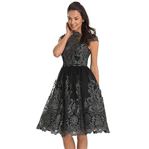 Abito vintage Fashion Classico Ladies Elegante Black Di Ricamo Sera Temperament Qualità Mesh rXgq5wrCx