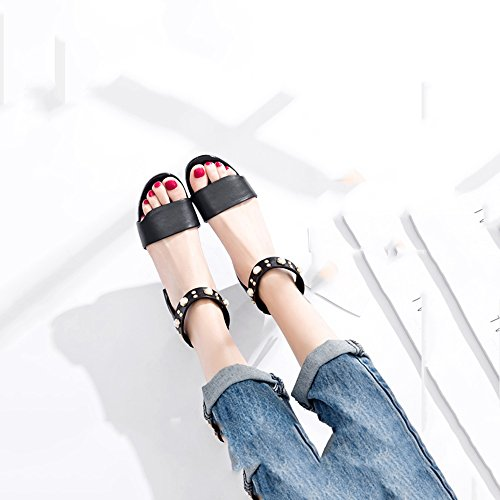 Femenino Xiaolin Zapatos Eu39 Gruesos De 5 color uk6 Bajo cn40 Negro Tacón Tamaño Sandalias Verano qFwXCrFpgx