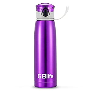 GBlife Double-Walled Vacuum Insulated Stainless Steel Water Bottle Easy Clean Leak Proof Portable Travel Mug (18oz, Purple)