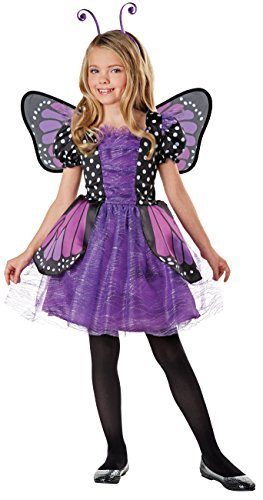 SEASONS DIRECT Halloween Costumes Girl's Brilliant Butterfly Purple Costume with Wings, Dress, Headband (8-10 US) -