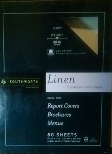 SOUTHWORTH 25% COTTON 65lbs, 80 Sheets, 8.5 in x 11 in, linen... business cover stock