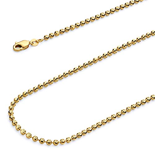Wellingsale 14k Yellow Gold 3mm Moon Cut Bead Ball Chain Necklace with Lobster Claw Clasp - 24