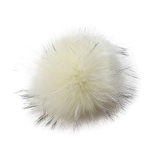 Faux Fox Fur Pom Pom with Press Button Removable Knitting Hat Accessories (I) (Hats Felted Knitting)