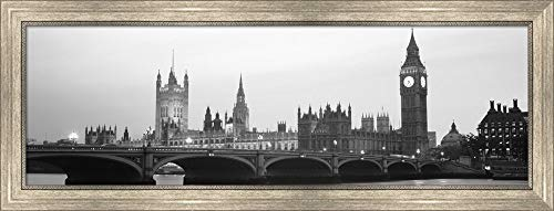Houses of Parliament, Westminster Bridge and Big Ben, London, England by Panoramic Images Framed Art Print Wall Picture, Silver Scoop Frame, 37 x 14 ()