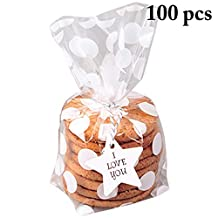 Fascigirl 100PCS Cello Bag Flat Cellophane Treat Bag Cellophane Bag for Candy Cookie Gift