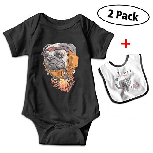 Crazy Popo Newborn Baby Short Sleeve Superhero Dogs Romper Playsuit Outfits with Baby Bib -