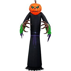 Sheerlund Products 8 Ft. Large Pumpkin Head Jack O' Lantern Ghoul With Led Lights Self-Inflating Outdoor Halloween…