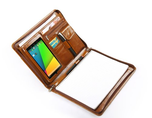 Deluxe Leather Portfolio for All-new Google Nexus 7, Letter A4 Paper, Aged Brown