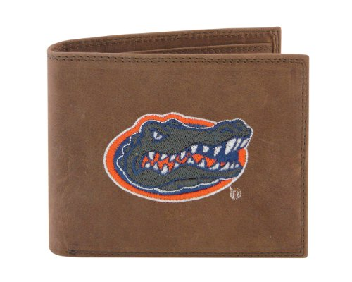 NCAA Florida Gators Zep-Pro Crazyhorse Leather Passcase Embroidered Wallet, Light Brown