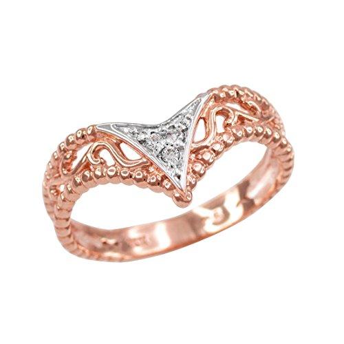 10k Rose Gold Filigree Diamond Pave Ladies Chevron Ring (Size ()
