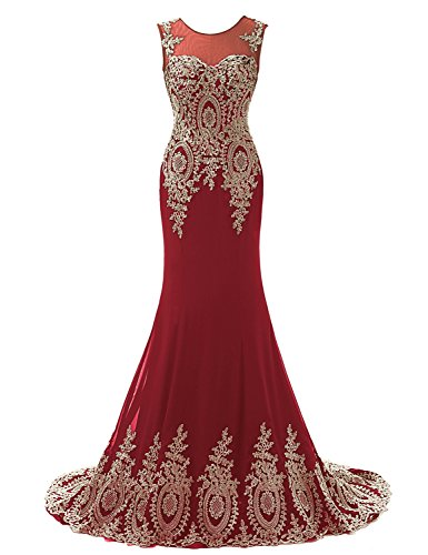 Clearbridal Women's Mermaid Gold Lace Embroidery Burgundy Prom Dress Evening Gown CXU039BG US14 - Silver And Gold Prom Dress