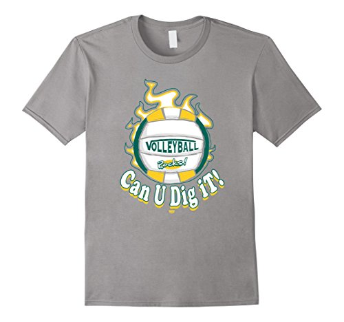 Men's MudgeWare Can U Dig It Volleyball Green Yellow T-Shirt XL Slate (Can U Dig It compare prices)