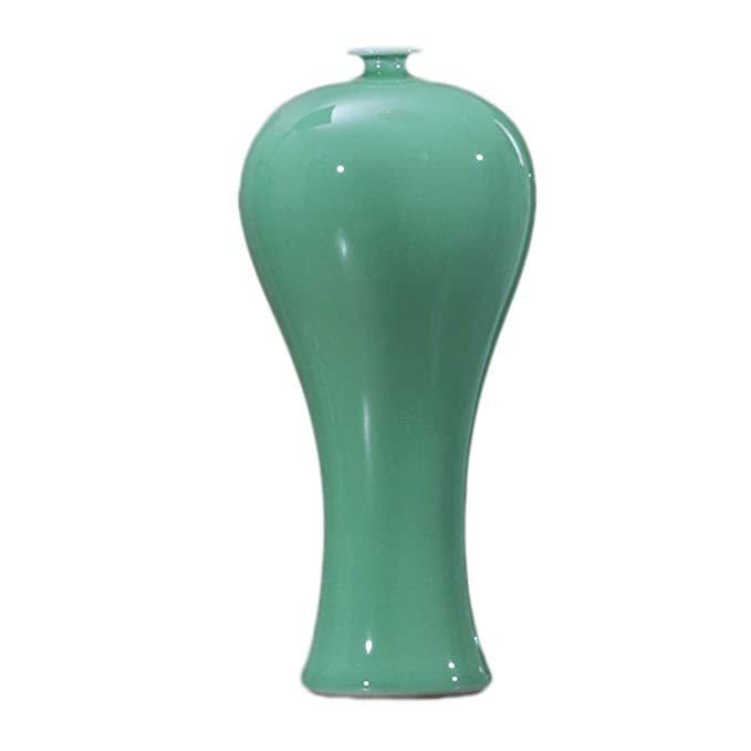 Amazon.com: Jarrón de cerámica verde esmalte decoración ...