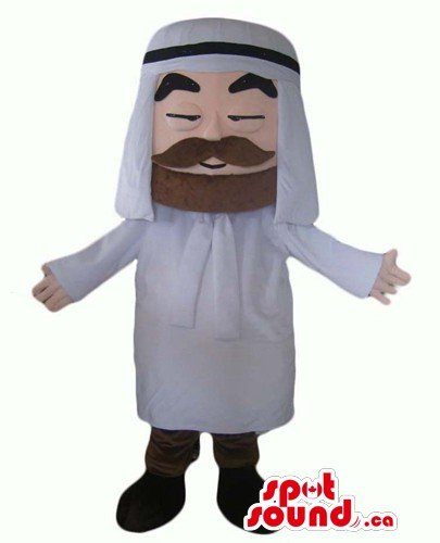 Happy arabic man SpotSound Mascot US costume character fancy dress