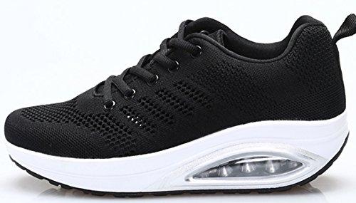 JARLIF Womens Comfortable Platform Walking Sneakers Lightweight Casual Tennis Air Fitness Shoes US5.5-10 All Black JMFtkJzLkH