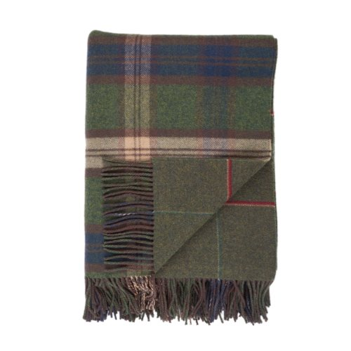 (Johnstons of Elgin Forth Reversible Large Check and Windowpane Tweed Lambswool Throw)