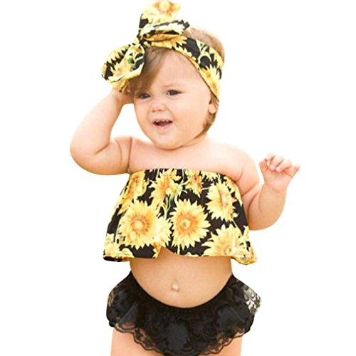 Lace Puff Short - Outfit Set,Newborn Baby Girl Sunflower 3PCS Clothes, Off Shoulder Tops+Lace Shorts+Headband Set (18M, Yellow)