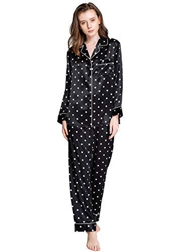 Womens Silk Satin Pajamas Set Sleepwear Loungewear Black XL ()