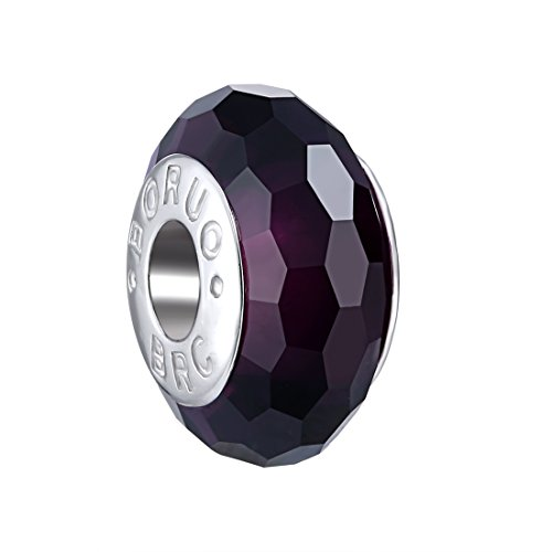 Amethyst Murano Bracelets (Boruo 925 Sterling Silver Czech Crystal Fascinating Facet Amethyst Glass Charms Beads Spacers February Birthstone Solid Core Charm Fit All Bracelets.)