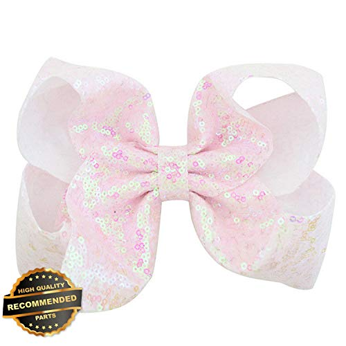 (Gatton Premium New Children 8 inch Headwear Hair Bow Hair Pin Clip Sequin Bling Hair Accessories | Style HRCL-M182012611)