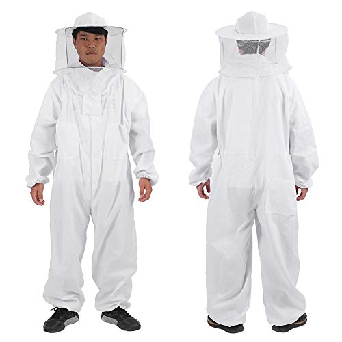 Delaman Beekeeper Suit for Men, Professional Full Body Beekeeping Suit, with Round Veil Hat, White, Beekeeping Supplies (Size : L) -