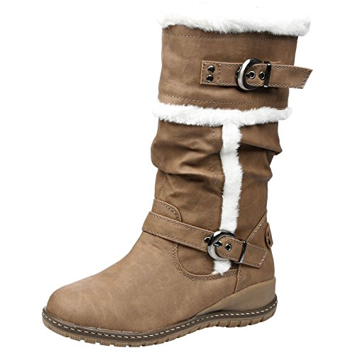 Feet First Fashion Shania Womens Low Heel Fur Lined Mid Calf Boots Camel Faux Leather WTxeD2