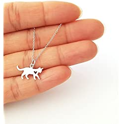 Sterling Silver Cat with Heart Cutout Charm Necklace