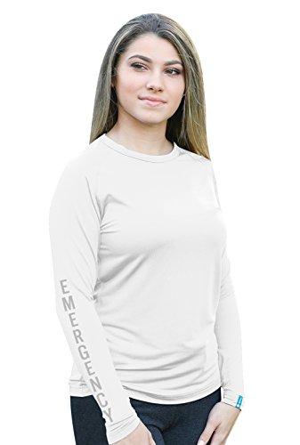 underscrubZ Ladies Dri-Fit Long-Sleeve Medical Scrub Undershirt (Emergency) (White, Medium)