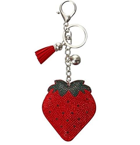 1 Pc Casual Strawberry PU Leather Tassels Alloy Keyrings DIY Pendants Girls Wrist Wristlet Keys Hook Key Finder Eminent Popular Pocket Bag Car Keychain ()