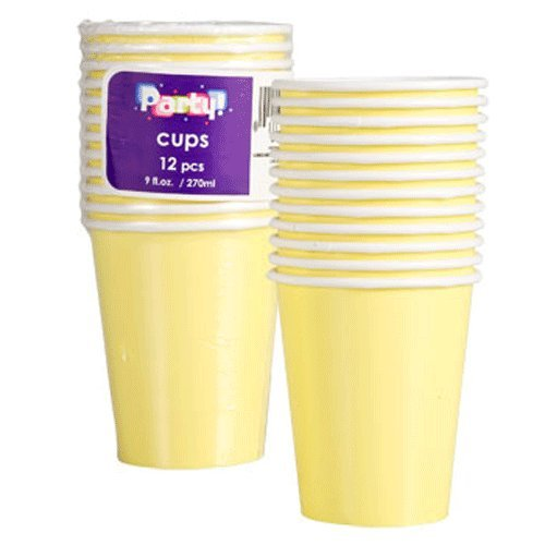Party Supplies - Light Yellow Paper Party Cups, 9-oz., 12-ct. Packs (2 Pack) 24 Cups Total