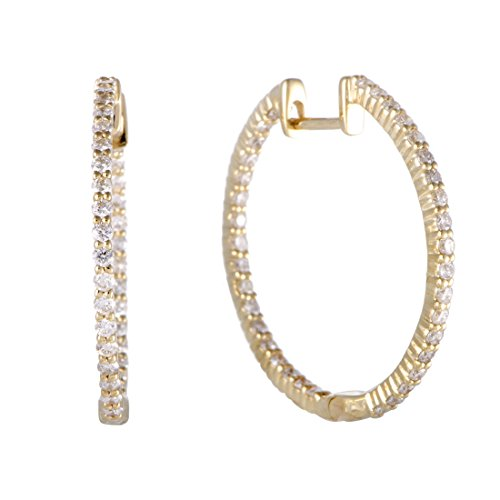 1 Carat (ctw) Diamond In and Out Hoop Earrings in 14K Yellow Gold; 1 CT White Diamonds (G Color, SI1-SI2 Clarity) in 1.0'' Hoops by Luxury Bazaar