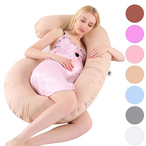 SHANNA Body Maternity Pregnant Pillows,53″ Pregnancy Pillow for Pregnant Women Sleeping with Washable C-Shaped Cotton Cover (Apricot)