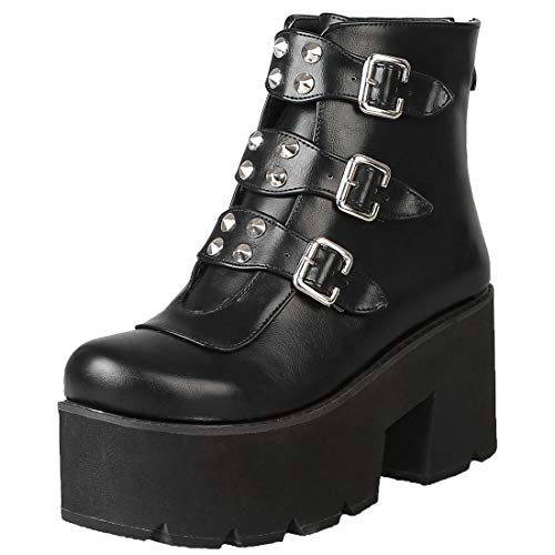 Vitalo Womens Studded Platform Chunky High Heels Ankle Booties Biker Punk Strappy Buckle Boots Size 8.5 B(M) US,Black
