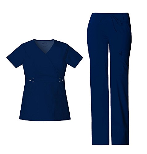 Cherokee Luxe Women's Scrub Set - 21701 Empire Waist Mock Wrap Top & 21100 Low Rise Flare Leg Drawstring Cargo Pant, Navy, Small